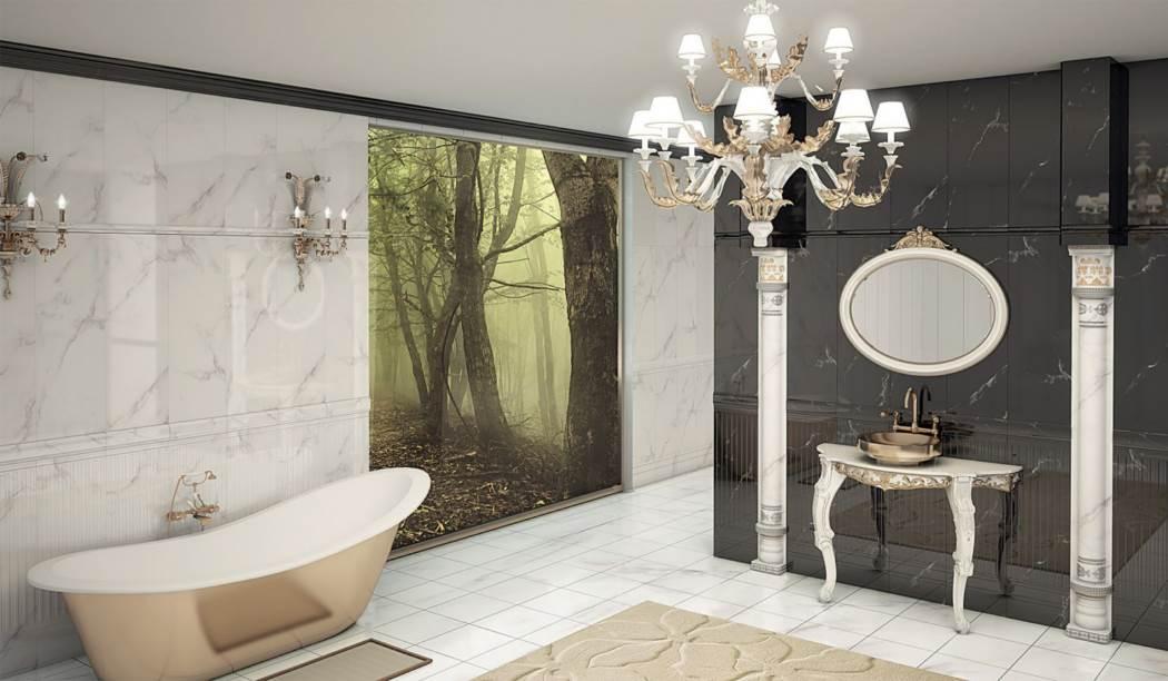 کاشی و سرامیک بوم سرامیک ، کاشی دیوار طرح آلوینو سفید سایز 90*30 لعاب براق با زمینه سنگی