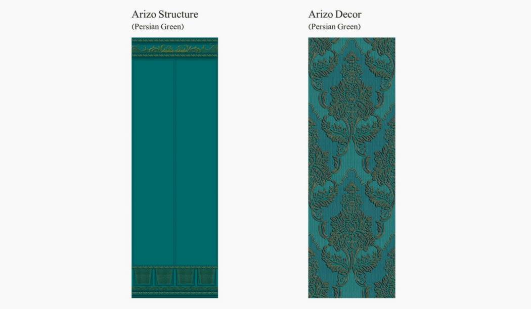 کاشی و سرامیک بوم سرامیک ، کاشی دیوار مجموعه آریزو آبی سایز 100*33 لعاب مات شوگر افکت پخت سوم با زمینه کاغذ دیواری