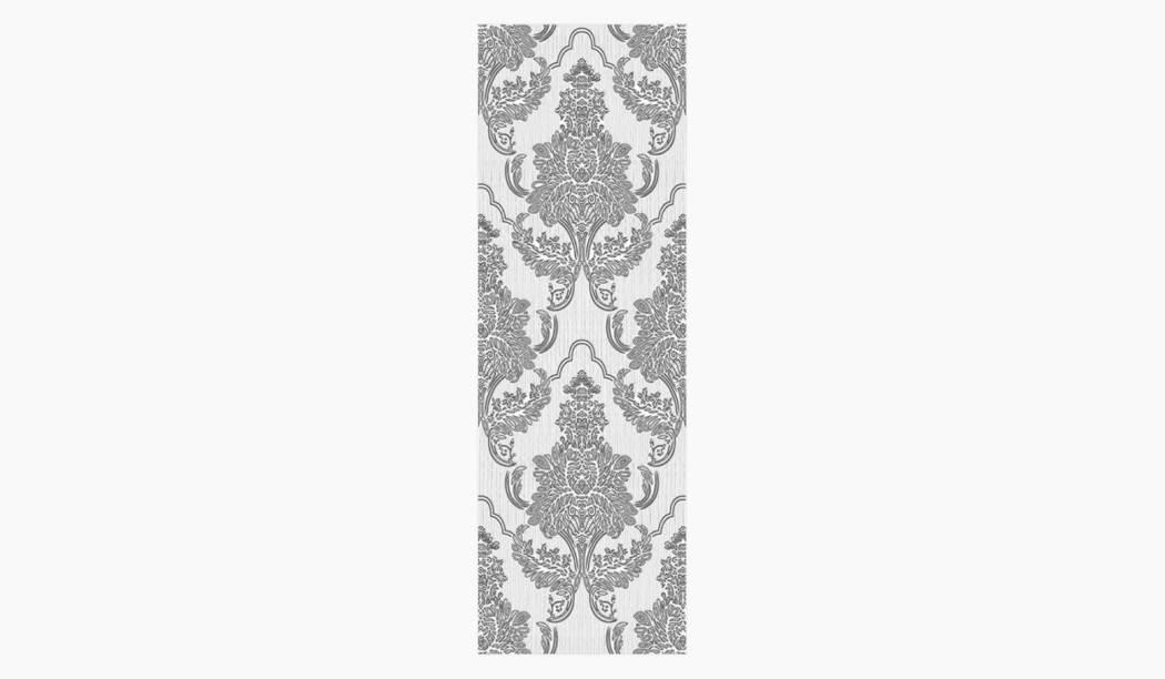 کاشی و سرامیک بوم سرامیک ، کاشی دیوار آریزو دکور گل سفید سایز 100*33 لعاب پانچ مات پخت سوم با زمینه کاغذ دیواری