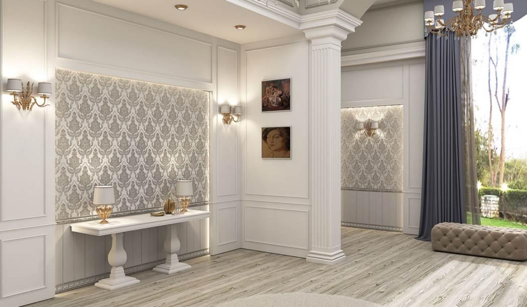 کاشی و سرامیک بوم سرامیک ، کاشی دیوار طرح آریزو  سفید سفید سایز 100*33 لعاب مات شوگر افکت پخت سوم با زمینه کاغذ دیواری