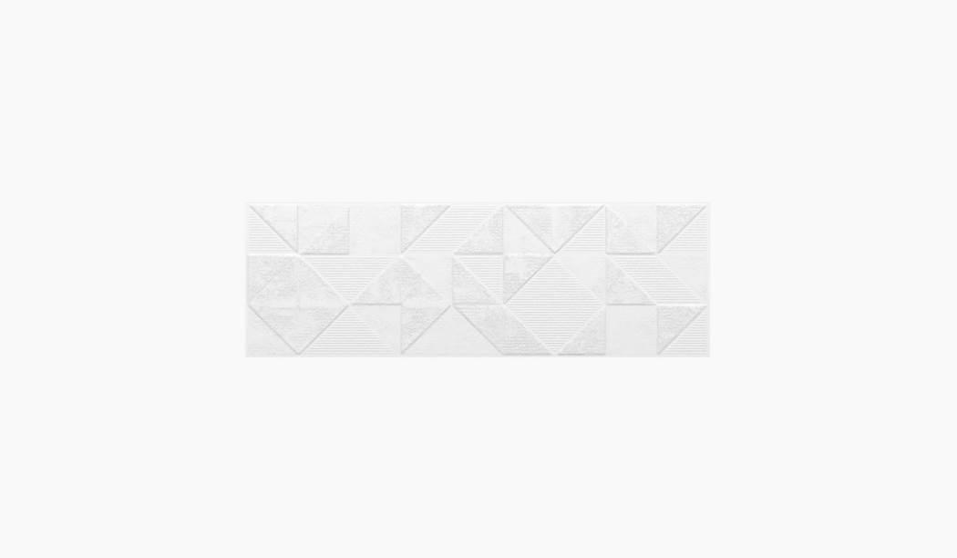 کاشی و سرامیک بوم سرامیک ، کاشی دیوار دکور لامیرا سفید سایز 30*90 لعاب مات پانچ با زمینه سیمانی