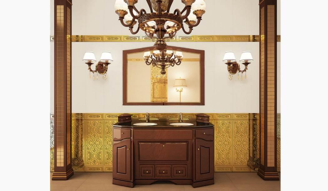 کاشی و سرامیک بوم سرامیک ، کاشی دیوار طرح رزالیا طلایی طلایی سایز 75*30 لعاب براق با زمینه آبرنگی