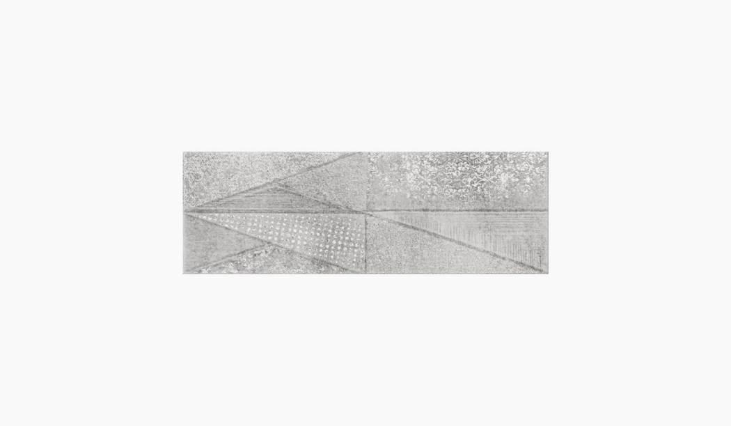 کاشی و سرامیک بوم سرامیک ، دکوراتیو دکور سالسا طوسی سایز 90 * 30 لعاب پانچ مات پخت سوم با زمینه سیمانی